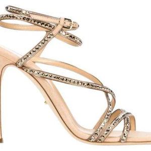 Sergio Rossi natural metallic suede crystal sandal